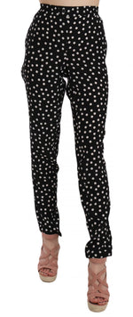 Dolce & Gabbana Silk Slim Leg Black Polka Dot Print Pants - Women - Apparel - Pants - Trousers - Dolce & Gabbana | Gethuda Fashion