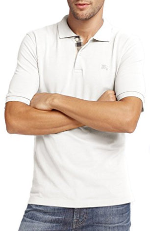 Burberry White Brit Men Check Placket Pique Polo - Men - Apparel - Shirts - Polos - Burberry | Gethuda Fashion