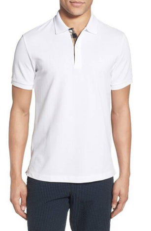 Burberry White Brit Men Check Placket Pique Polo