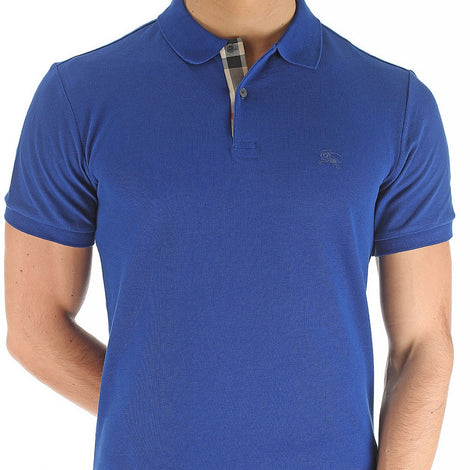 Burberry Sax Blue Brit Men Check Placket Pique Polo