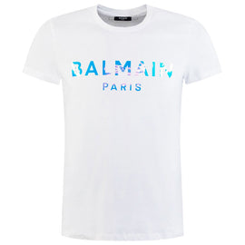 Balmain Paris White Cotton T-shirt with metallic hologram-effect logo
