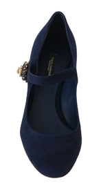 Dolce & Gabbana Blue Suede Crystal Mary Janes Pumps - Women - Shoes - Pumps - Dolce & Gabbana | Gethuda Fashion