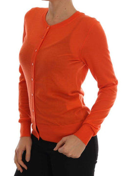Dolce & Gabbana Orange Cashmere Cardigan Sweater