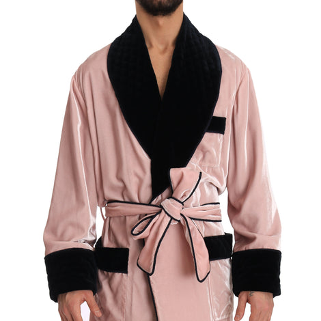 Dolce & Gabbana SILK Robe Nightgown Pink Velvet Black - Men - Apparel - Lingerie And Sleepwear - Pajama Sets - Dolce & Gabbana | Gethuda Fashion