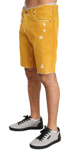 Dolce & Gabbana Gold Denim Cotton Above Knees Yellow - Men - Apparel - Shorts - Casual - Dolce & Gabbana | Gethuda Fashion