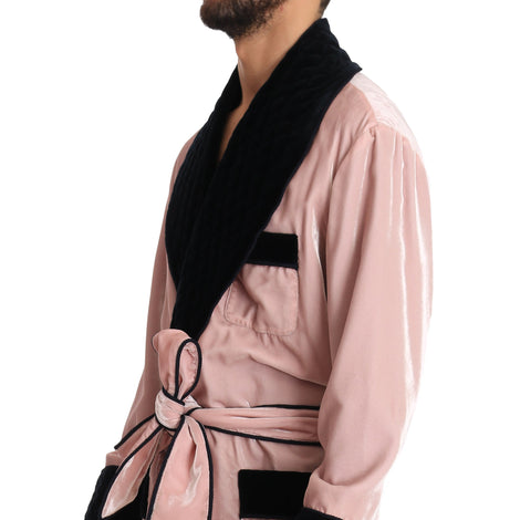 Dolce & Gabbana SILK Robe Nightgown Pink Velvet Black