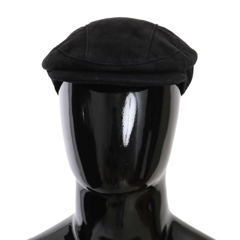 Dolce & Gabbana Black Alpaca Leather Newsboy Cap Mens Hat - Men - Accessories - Hats - Dolce & Gabbana | Gethuda Fashion