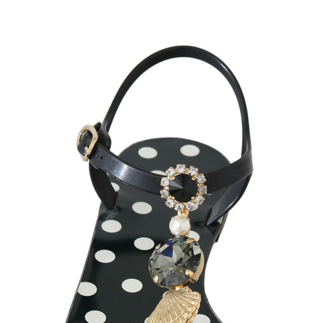 Dolce & Gabbana Black Polka Dot Crystal Sandals