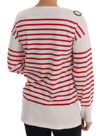 Dolce & Gabbana Red Striped Parrot Crystal Blouse