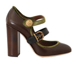 Dolce & Gabbana Brown Leather Mary Jane Gold Buckle
