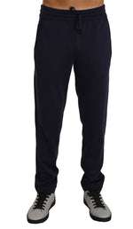 Dolce & Gabbana Blue 100% Silk Casual Lounge Sweatpants -  - Dolce & Gabbana | Gethuda Fashion