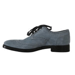 Dolce & Gabbana Blue Leather Derby Dress Wingtip Shoes - Men - Shoes - Oxfords - Dolce & Gabbana | Gethuda Fashion