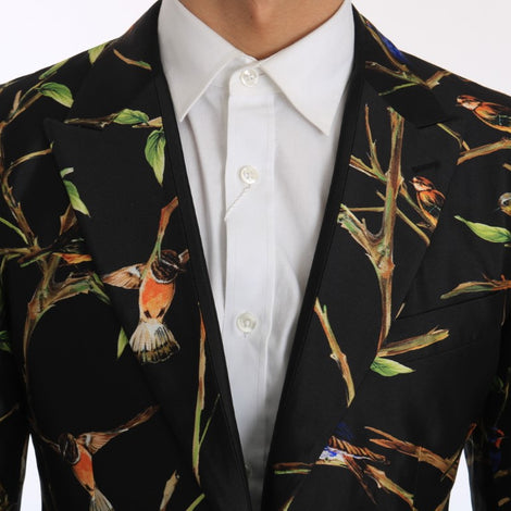 Dolce & Gabbana Black Bird Silk Sicilia Slim Fit Blazer Suit
