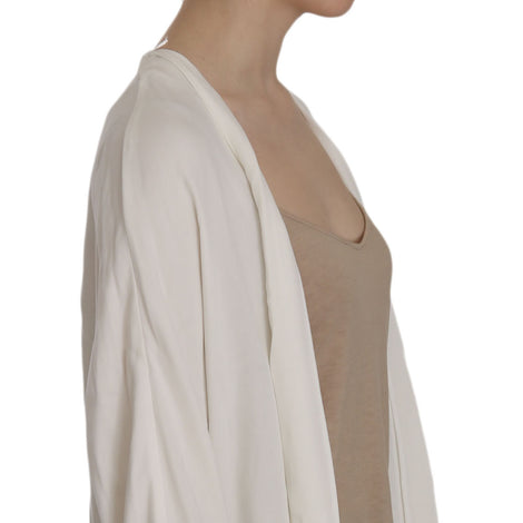 White Folded Long Sleeve Cardigan Deep Neck Blouse - Women - Apparel - Shirts - Blouses - PINKO | Gethuda Fashion