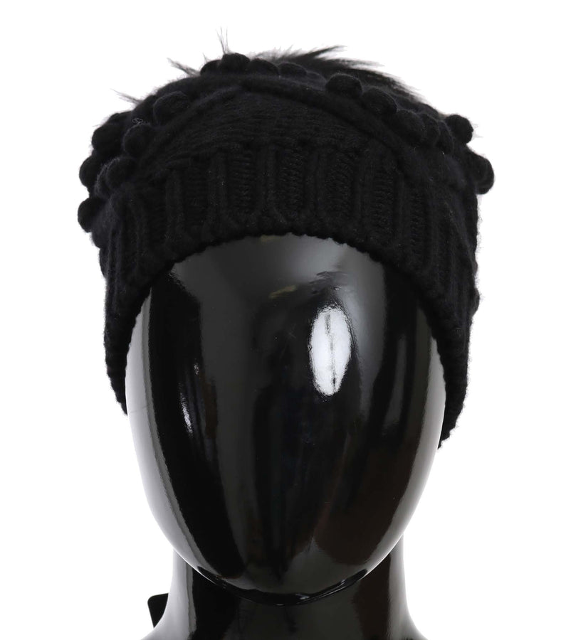 Dolce & Gabbana Knitted Cashmere Black Fox  Hat