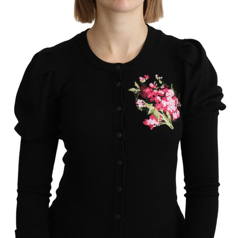 Black Floral Long Sleeve Cardigan Sweater