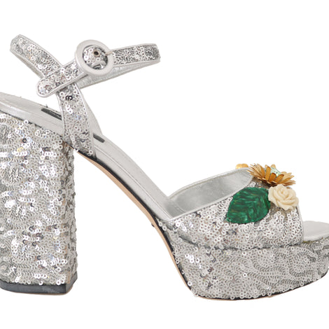 Dolce & Gabbana Leather Sequin Crystal Sandals