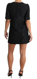 Dolce & Gabbana Black Button Embellished Jacquard Mini Dress - Women - Apparel - Dresses - Casual - Dolce & Gabbana | Gethuda Fashion