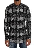 Dolce & Gabbana Black Cotton GOLD Pineapple Print - Men - Apparel - Shirts - Dress Shirts - Dolce & Gabbana | Gethuda Fashion