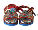 Dolce & Gabbana Red Leather Majolica Crystal Sandals - Women - Shoes - Sandals - Dolce & Gabbana | Gethuda Fashion