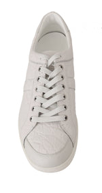 Dolce & Gabbana White Caiman Crocodile Sneaker Shoes