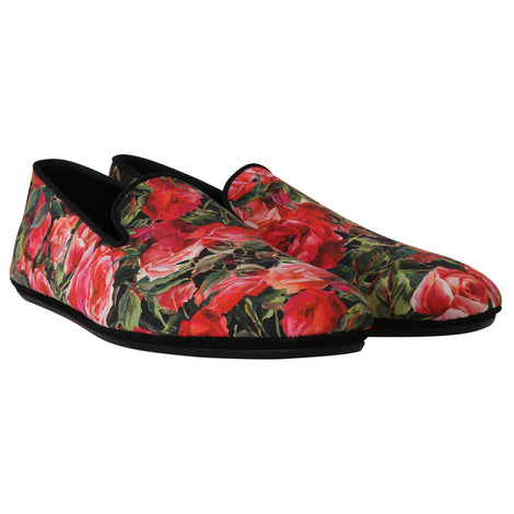 Dolce & Gabbana Red Roses Floral Canvas Slides Loafers