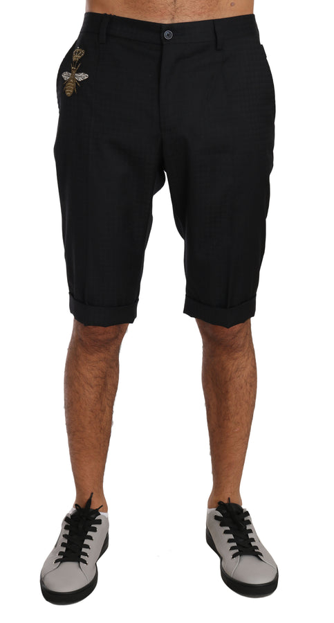 Dolce & Gabbana Dark Gray Wool Crown Royal Bee Chinos Shorts - Men - Apparel - Shorts - Casual - Dolce & Gabbana | Gethuda Fashion