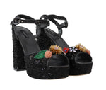 Dolce & Gabbana Black Sequin Leather Crystal Sandals