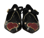Dolce & Gabbana Black Leather Heart Flats Loafers Shoes - Women - Shoes - Flats - Dolce & Gabbana | Gethuda Fashion