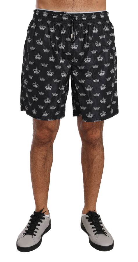 Dolce & Gabbana Gray Beachwear Crown Logo Swimshorts - Men - Apparel - Swimwear - Board Shorts - Dolce & Gabbana | Gethuda Fashion