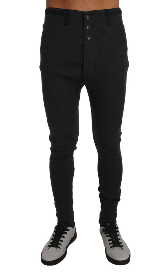 Dolce & Gabbana Gray Cashmere Stretch Winter Thermal Bottoms -  - Dolce & Gabbana | Gethuda Fashion