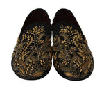 Dolce & Gabbana Black Jacquard Crystal Sequined Loafers - Men - Shoes - Loafers Drivers - Dolce & Gabbana | Gethuda Fashion