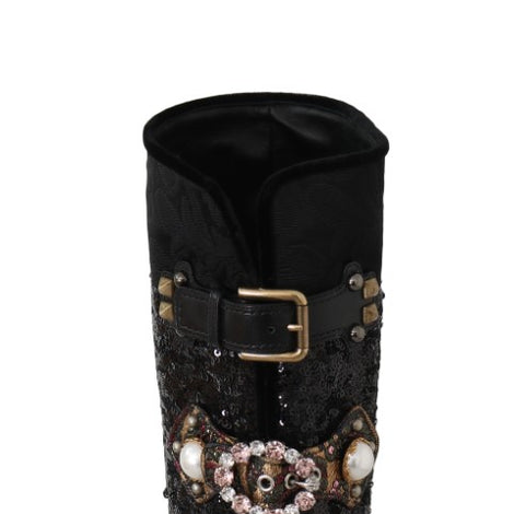Black Crystal Sequined Buckle Boots -  - Dolce & Gabbana | Gethuda Fashion