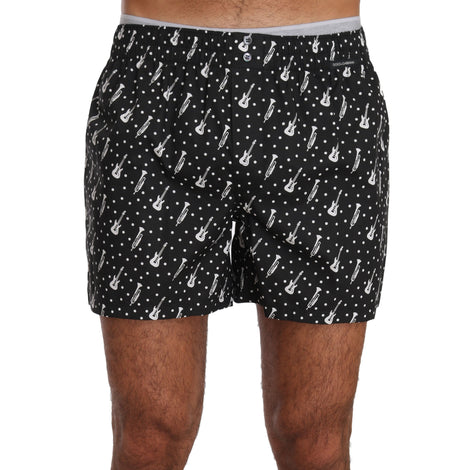 Dolce & Gabbana Black Cotton Music Print Pajama Sleepwear - Men - Apparel - Lingerie And Sleepwear - Pajama Sets - Dolce & Gabbana | Gethuda Fashion