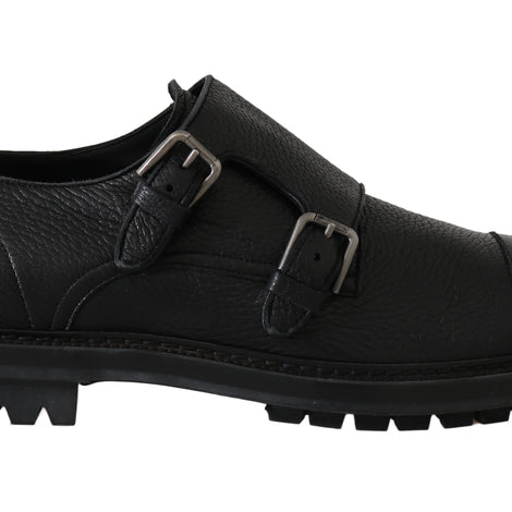 Dolce & Gabbana Black Leather Monkstrap Formal Shoes