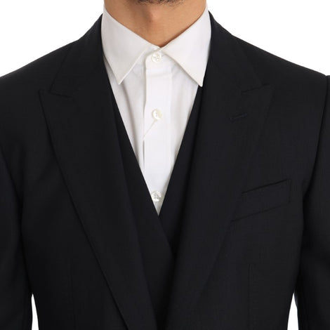 Dolce & Gabbana Blue Wool Sicilia Slim Fit 3 Piece Suit