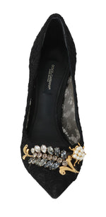 Dolce & Gabbana Black Lace Taormina Crystal Pumps Shoes - Women - Shoes - Pumps - Dolce & Gabbana | Gethuda Fashion
