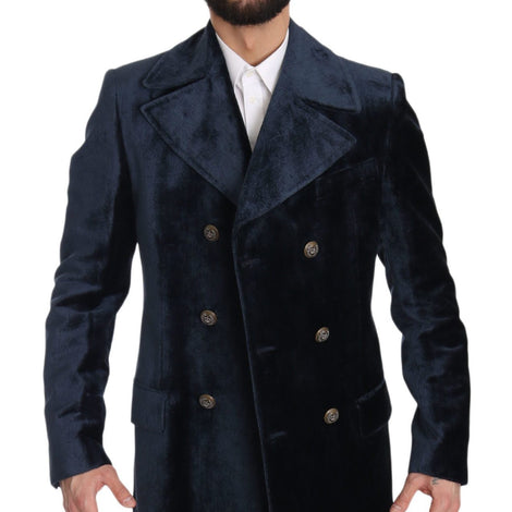 Dolce & Gabbana Navy Blue Velvet Long Trench Coat Jacket - Men - Apparel - Outerwear - Jackets | Gethuda Fashion