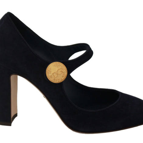 Dolce & Gabbana Blue Suede DG Mary Jane Pumps Heels - Women - Shoes - Pumps - Dolce & Gabbana | Gethuda Fashion