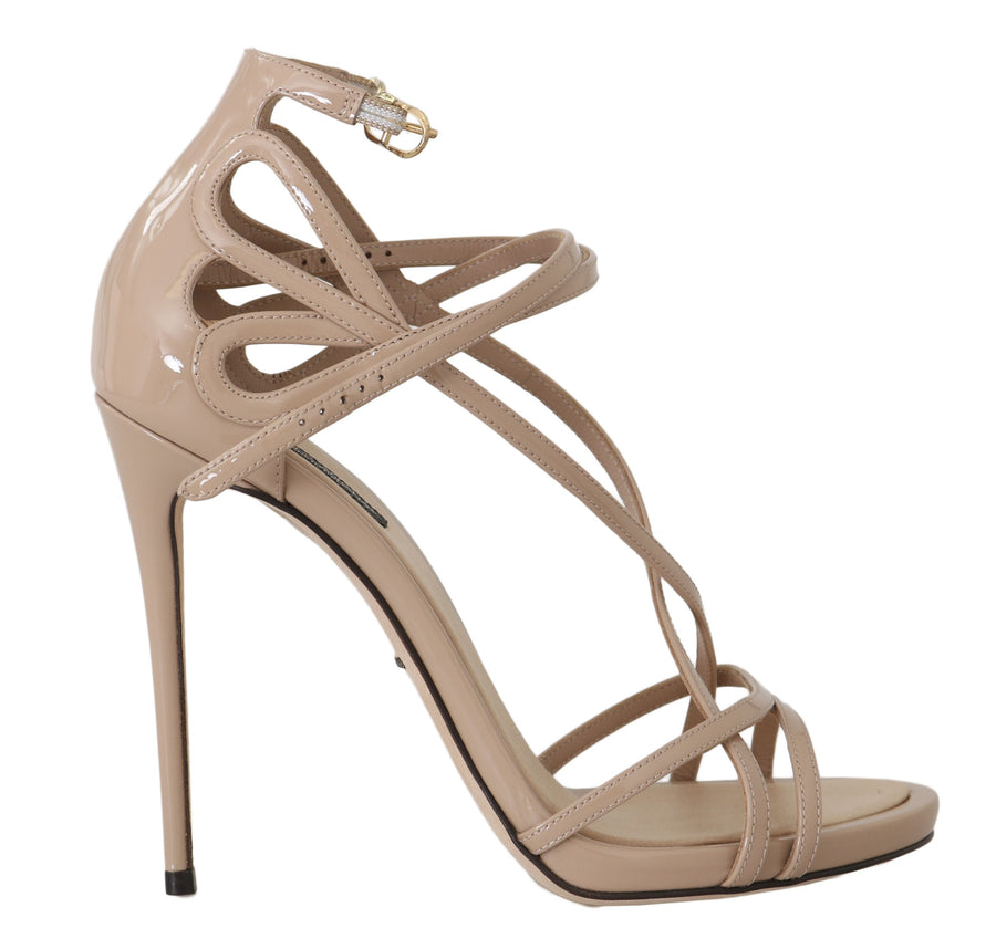 Dolce & Gabbana Beige Leather Silk Stiletto Sandals - Women - Shoes - Sandals - Dolce & Gabbana | Gethuda Fashion