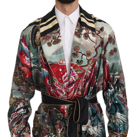Dolce & Gabbana Silk Japanese Motive Long Coat Cape Robe