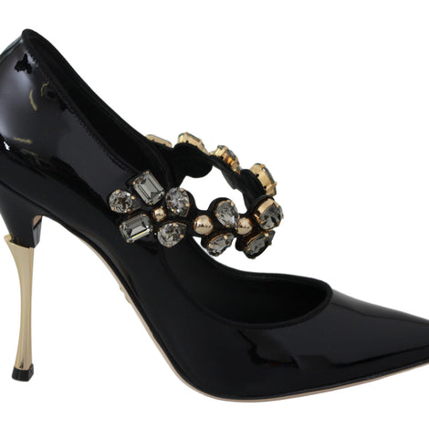 Dolce & Gabbana Black Leather Mary Jane Crystal Shoes - Women - Shoes - Pumps - Dolce & Gabbana | Gethuda Fashion