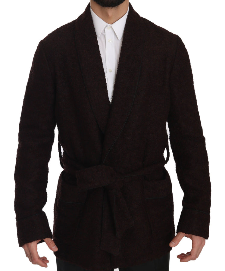 Dolce & Gabbana Bordeaux Robe Coat Mens Wrap  Jacket - Men - Apparel - Lingerie And Sleepwear - Pajama Sets - Dolce & Gabbana | Gethuda Fashion