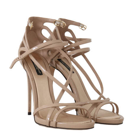 Dolce & Gabbana Beige Leather Silk Stiletto Sandals