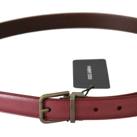 Dolce & Gabbana Pink Purple Leather Gray Metal Buckle Belt