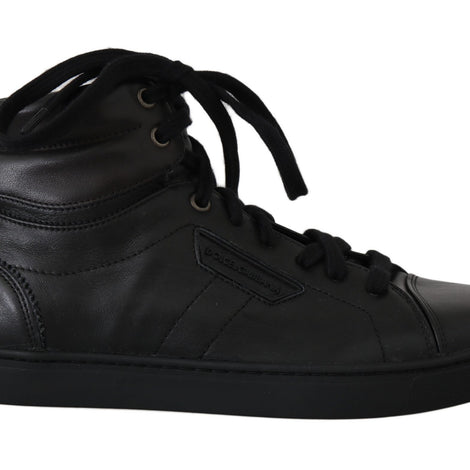 Dolce & Gabbana Black Leather Mens High Shoes Sneakers - Men - Shoes - Sneakers - Dolce & Gabbana | Gethuda Fashion