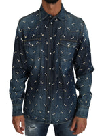 Dolce & Gabbana Blue Cotton Denim Drink Print Casual Shirt - Men - Apparel - Shirts - Dress Shirts - Dolce & Gabbana | Gethuda Fashion
