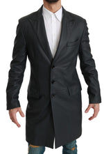 Gray Formal Long Trenchcoat Leather Jacket