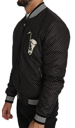 Dolce & Gabbana Black Polka Dot Sequin Beads Bomber Jacket - Men - Apparel - Outerwear - Jackets - Dolce & Gabbana | Gethuda Fashion