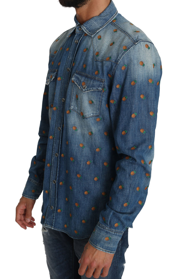 Dolce & Gabbana Blue Cotton Denim Pineapple Shirt - Men - Apparel - Shirts - Dress Shirts - Dolce & Gabbana | Gethuda Fashion